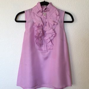 J.Crew Silk Lilac Purple Ruffle Blouse Top Size 6